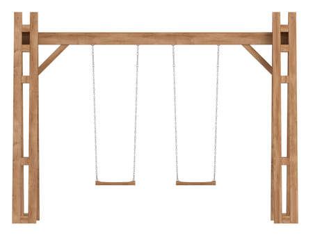 Un marco de madera-con columpios para ser utilizado en un jardín para el entretenimiento y la diversión de los niños aislados en blanco Foto de archivo - 15518888