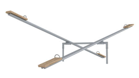 fulcrum: Dual playground seesaw or teetertotter used by children sitting either end riding up and down around the central fulcrum