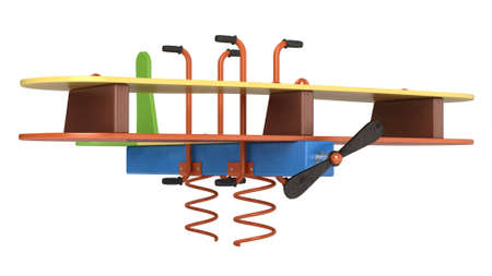 sprung: Bouncy aeroplane on springs for preschool children to ride on in a playground isolated on a white background