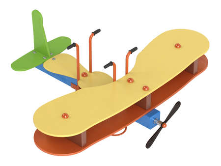 bouncing: Bouncy aeroplane on springs for preschool children to ride on in a playground isolated on a white background