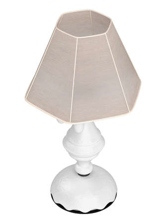 White lamp with hexagonal shade for the interior decoration of your living room isolated on white Stock Photo - 15518899