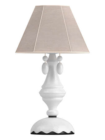 White lamp with hexagonal shade for the interior decoration of your living room isolated on white