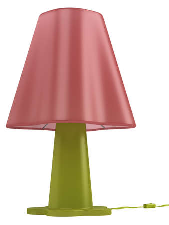 pink lamp: Modern green table lamp with a pink shade and switch isolated on a white background Stock Photo