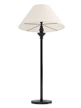 lampshade: Classic standing lamp with a black base and white shade isolated on white