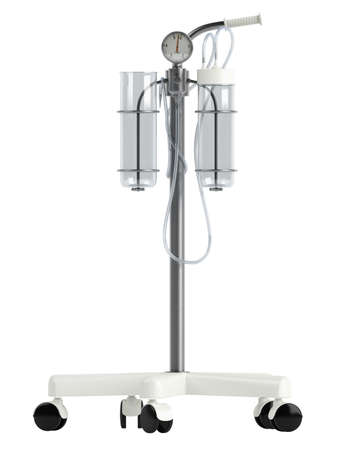 castors: Theatre suction unit or medical suction liner with twin jars and disposable liners for collecting effluent isolated on a white background