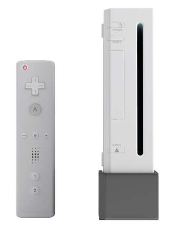 Video gaming console and control isolated on a white background photo