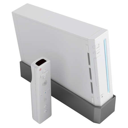 video gaming: Video gaming console and control isolated on a white background