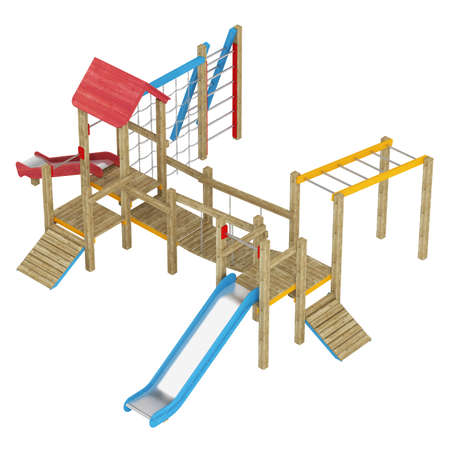 jungle gym: Wooden childrens playground apparatus with slides, climbing frames and walkway isolated on white