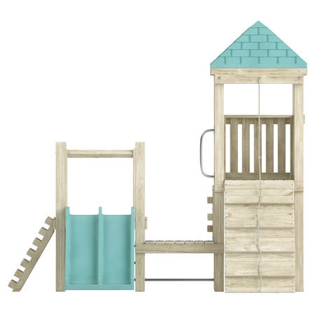recreational climbing: Wooden playground structure with climbing ramp, rope and slides for the amusement of children isolated on a white background