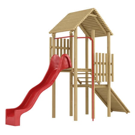 recreational climbing: Wooden frame with steps and a ramp leading to a colourful red slide for use in a childs playground isolated on white Stock Photo