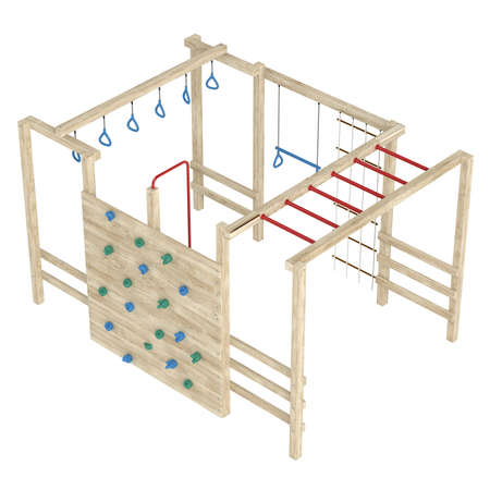 Wooden jungle gym or climbing frame with handholds, footholds and ropes isolated on a white background Stock Photo - 15518928