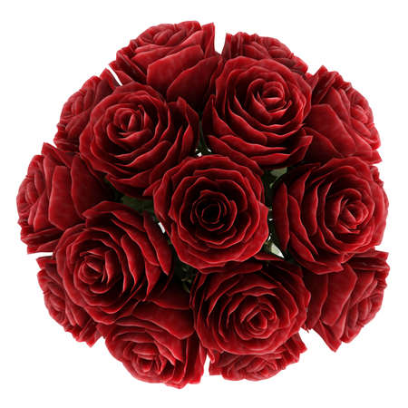 ornamental horticulture: Vase of romantic deep burgundy red roses symbolising love for Valentines day, anniversary or a wedding isolated on white