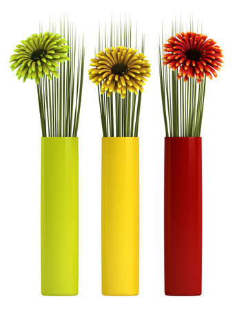 matching: Three ornamental gerbera daisies in red, yellow and green with matching cylindrical containers, isolated on white Stock Photo