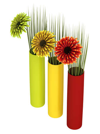 dicot: Three ornamental gerbera daisies in red, yellow and green with matching cylindrical containers, isolated on white Stock Photo