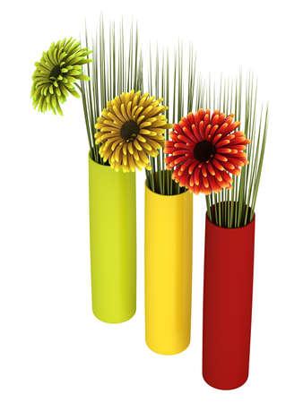 dicot: Tre margherite gerbera ornamentali in rosso, giallo e verde, con corrispondenti contenitori cilindrici, isolato su bianco