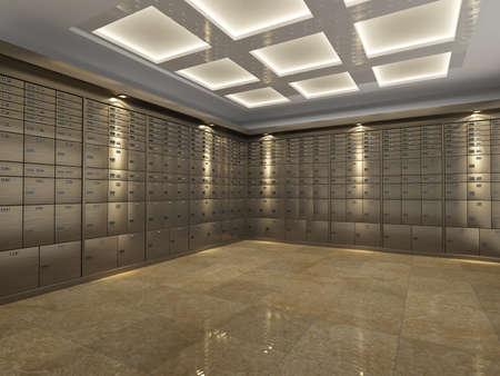 Interior aus einem feuerfesten verstärkt Banktresor oder Zimmersafe Reihen von Stahl Schließfächer für die Speicherung wichtiger Dokumente und Wertsachen