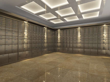 bank protection: Interior of a fireproof reinforced bank vault or safe room with rows of steel safe deposit boxes for storing important document and valuables