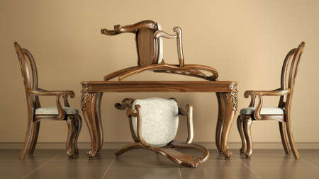 caoba: Juego de cuatro sillas de comedor de caoba reproducci�n de antig�edades y de mesa Foto de archivo