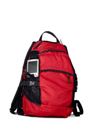 pocket pc: Red backpocket with pocket pc nad GPS isolated over white background
