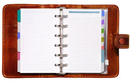 scheduler: Leather notepad with clipping path isolated on white background