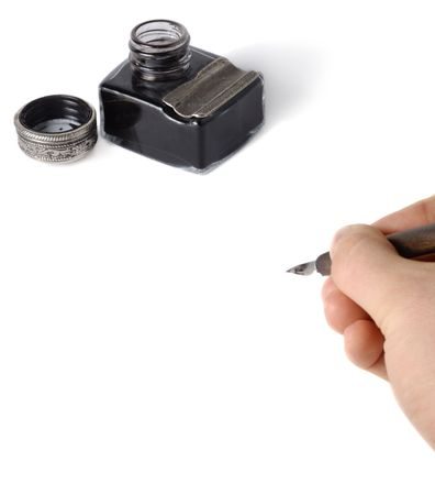 Male hand with pen writing something over white background