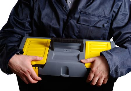 Man in uniform holding tool box over white background photo