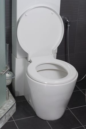 Design of toilet interior in modern style with black ceramic