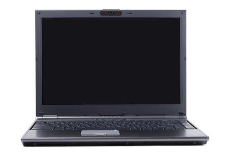 Gray laptop in front isolated over white background Stock Photo - 907139