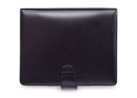 Black leather style purse isolated over white background