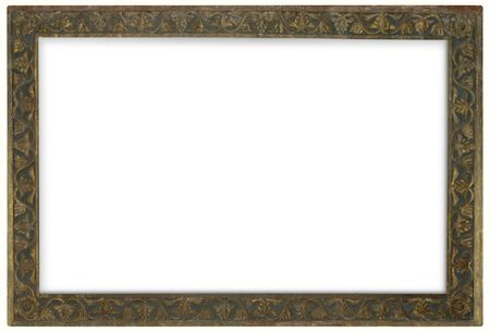 Ancient bronze frame isolated over white background