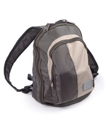haversack: Small modern backpack isolated over white background Stock Photo