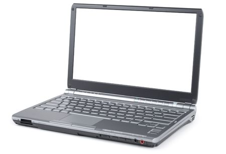 Style new laptop isolated over white background photo