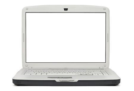 touchpad: Style compact gray laptop isolated over white background