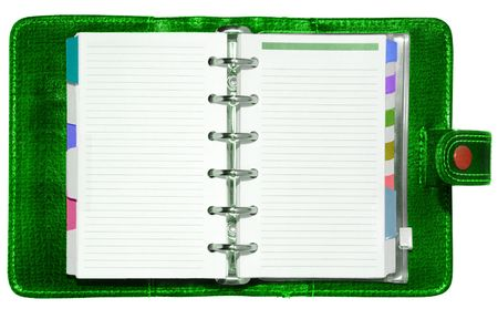 Green leather notepad  Stock Photo - 2681243