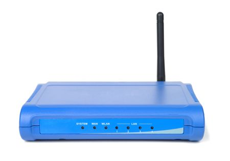 Small internet router isolated over white background. Front view Stock Photo - 2737065