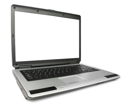 角度のついた: Wide angled laptop isolated over white background