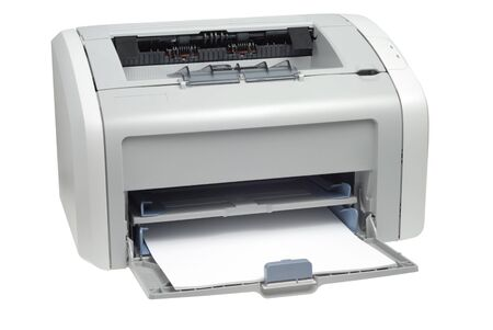 Style laser printer isolated with clipping path over white background