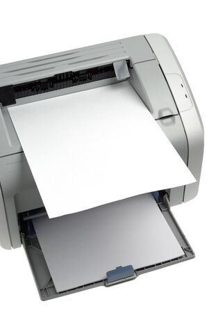 Sheet of paper over printer isolated