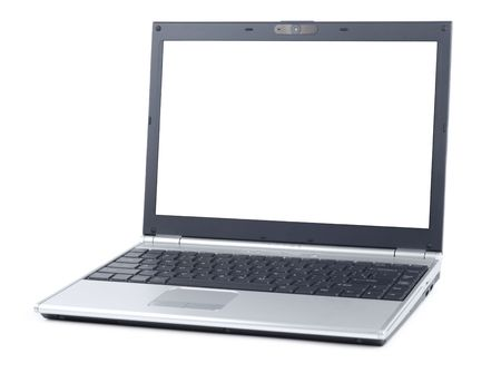 Simple laptop isolated over white background photo