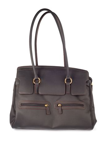 Brown leather woman bag isolated with clipping path over white background Stock Photo - 3480008