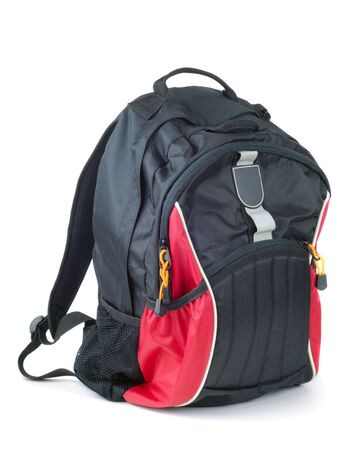 haversack: Style black with red colored backpack isolated over white background