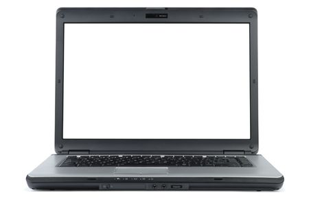 Modern laptop isolated with clipping path over white photo
