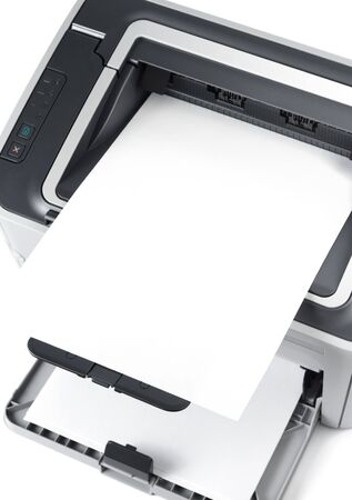 Sheet of paper over printer isolated over white Stock Photo