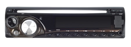 device disc: Modern car audio system isolated with path over white Stock Photo