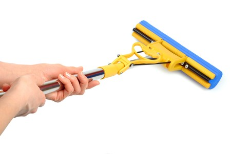 bright housekeeping: Female hands with mechanic mop isolated over white