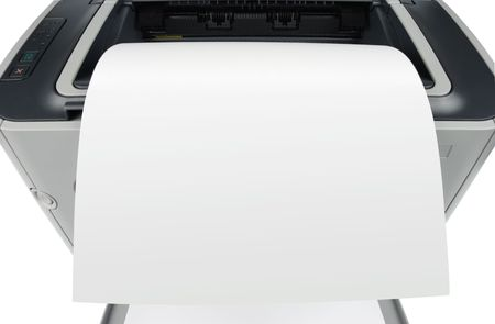 Sheet of paper over printer isolated over white background Stock Photo