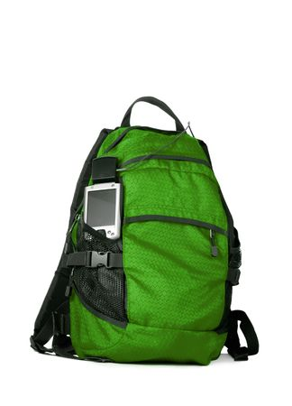 pocket pc: Green backpocket with pocket pc GPS isolated over white background