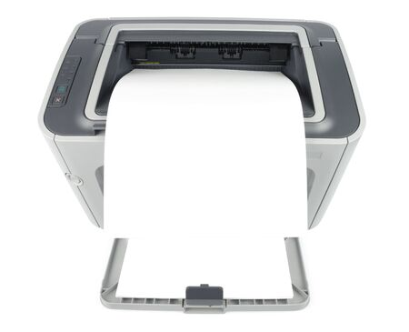 xerox: Printer with clean sheet isolated over white with path. Front view. Stock Photo