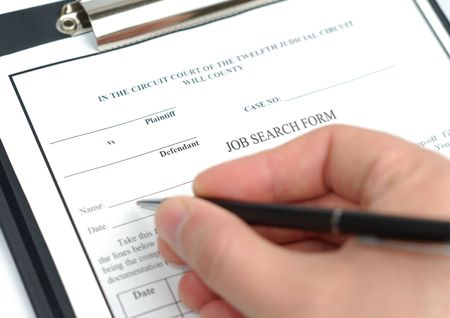 fulfill: Male hand with pen filling in job search form