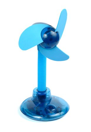 Small blue ventilator isolated over white background